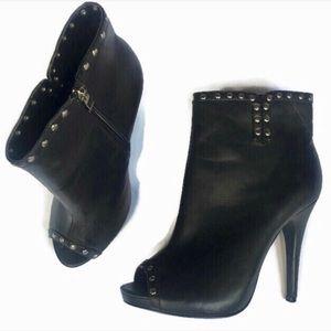 Torrid Black Peep Toe Stud Booties Size 9